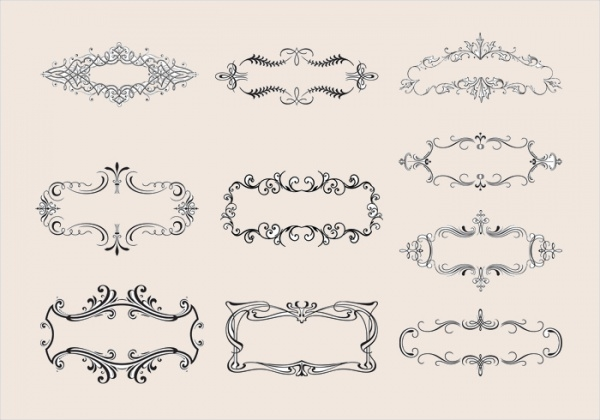 Floral Ornamental Banner Brushes