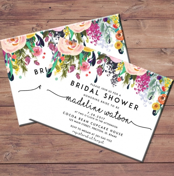 Floral & Watercolor Bridal Shower Invitation