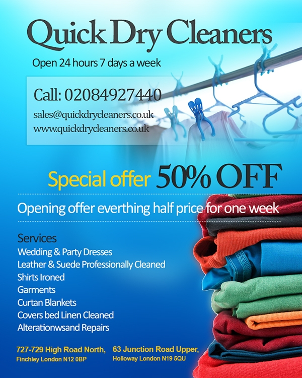 Flyer Design for Dry Cleaning Shop