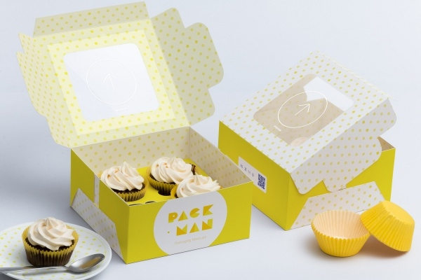 Four Cupcake Box Packaging
