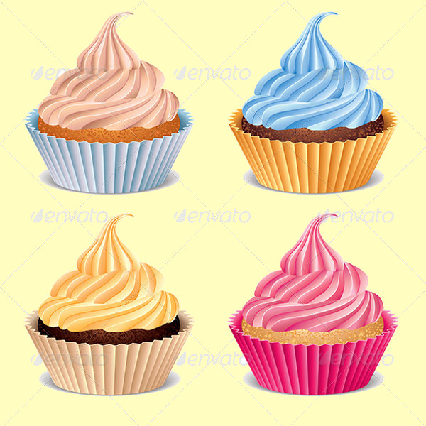 Four Cupcakes Vector Illustration
