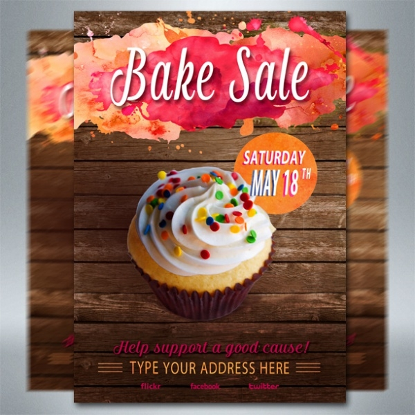 Bake Sale Flyer Templates PSD Vector EPS JPG Download - Bakery brochure template free