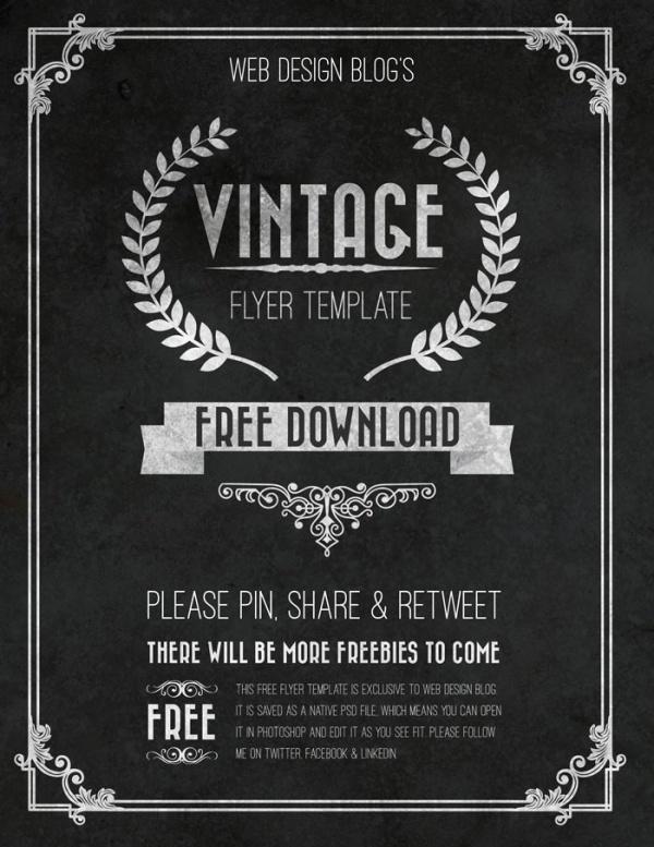 free vintage flyer template chalkboard psd