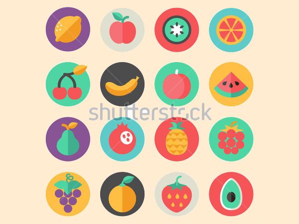 Fruits Flat Icon Set