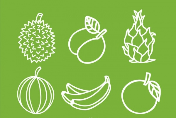Fruits White Line Icons