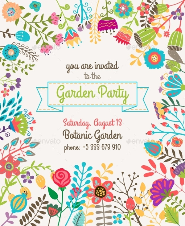 18 Summer Party Invitations PSD Vector EPS JPG Download – Flower Party Invitations