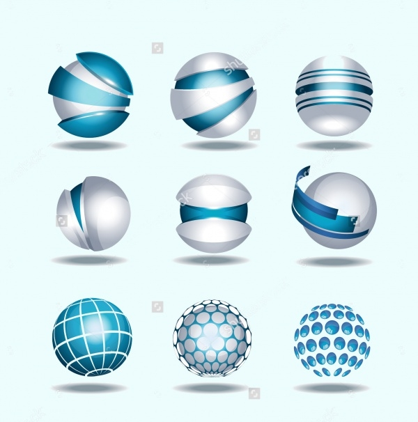 Globe Sphere 3D Icons Set