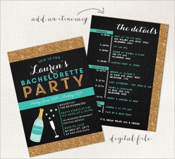 Gold Glitter Champagne Bachelorette Invite
