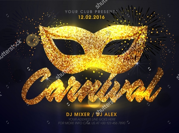 Golden Carnival Mask Flyer
