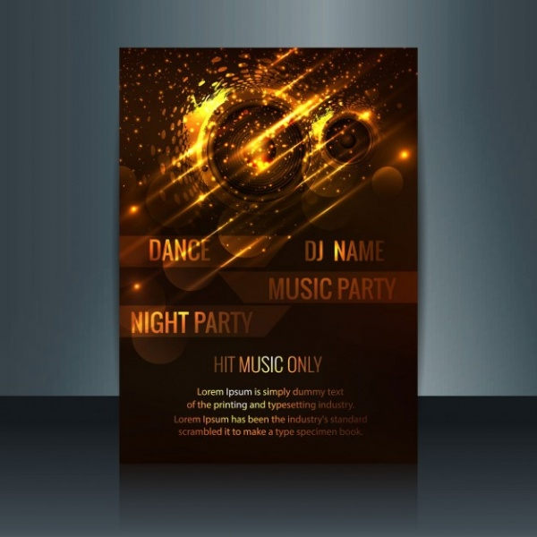 Golden Glowing Music Party Flyer