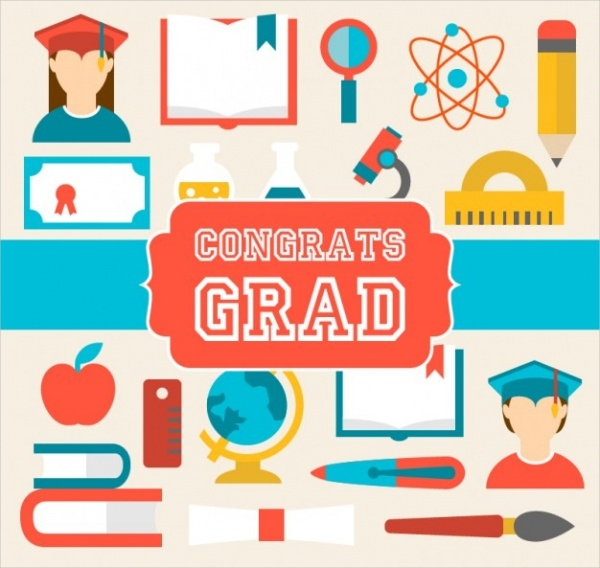 Graduation Card with School Elements