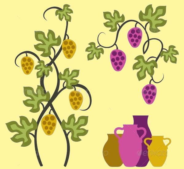 Grape Vines End Berries Set
