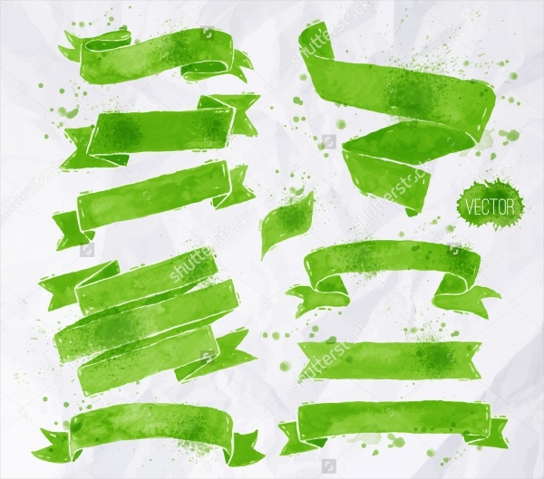Green Colors Banners Brushes