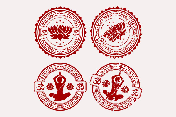 Grunge Yoga Stamps Vector