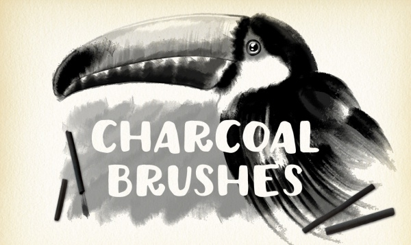 Grungy Black Graphite Charcoal Brushes