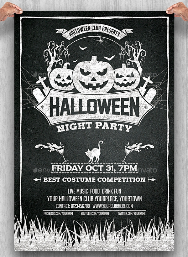 Halloween Chalkboard Flyer Design