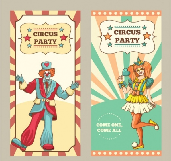 Hand Drawn Circus Flyer In Vintage Style