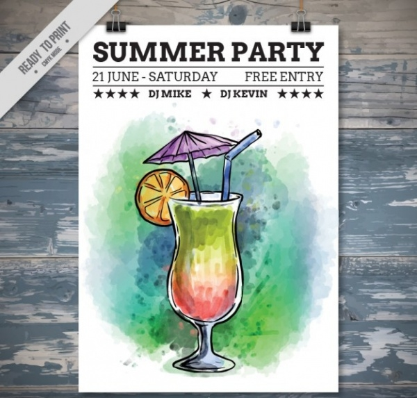 Hand Drawn Cocktail Party Flyer