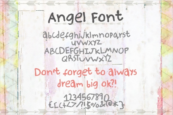 Hand Drawn Font for Angel