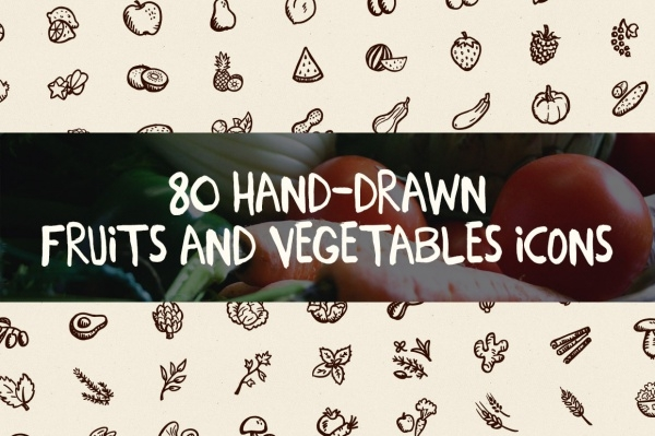 Hand Drawn Fruits & Vegetables Icons
