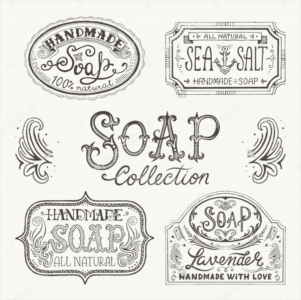 Hand Drawn Handmade Soap Labels Design