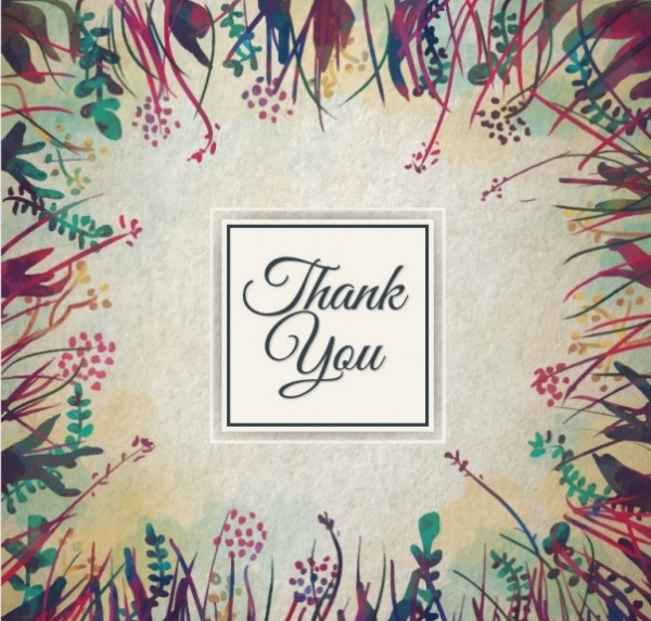 Hand painted Floral Thank You Card