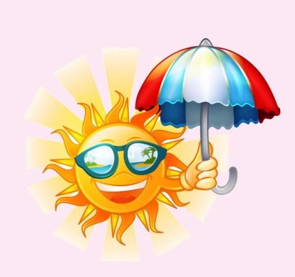 Happy Sun Umbrella Cartoon Illustration