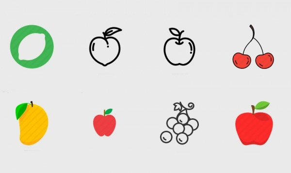 Healthy Fresh Fruit Icons