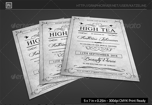 High Tea Bridal Shower Party Invitation