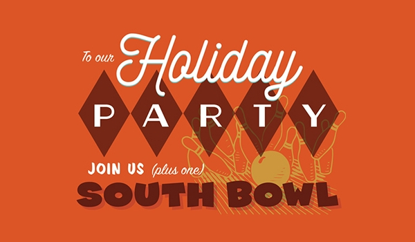 Holiday Bowling Party Invitation Design