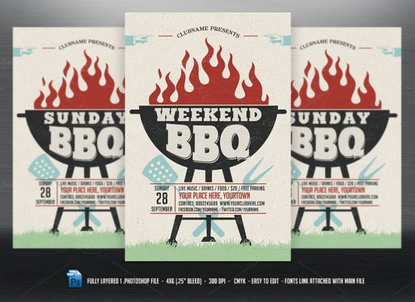 Holiday Event BBQ Flyer Template