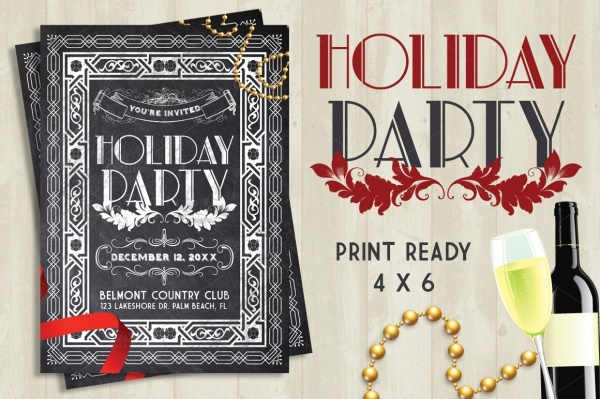 Holiday Party Chalk Flyer Template