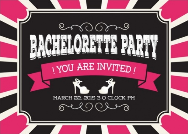 Horizontal Bachelorette Party Label Invitation