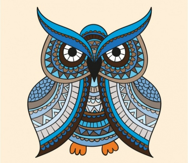 Illustration of Blue Owl With Ornament