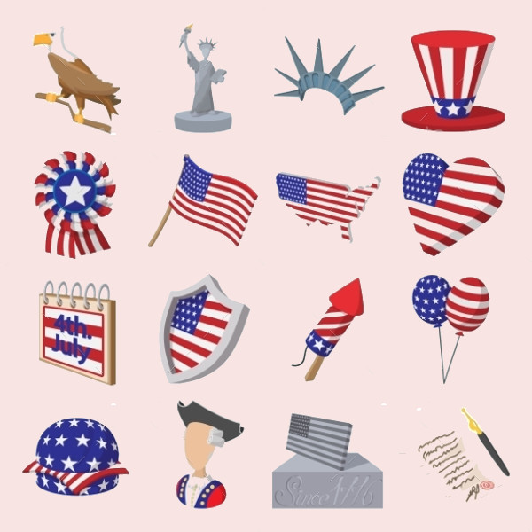 Independence Day Cartoon Icons