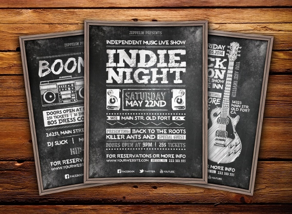 Indie Night Chalkboard Flyer Design