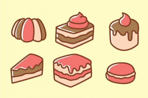 Isolated Cake Cartoon Icons