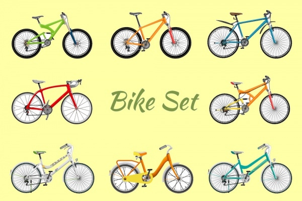 Isometric Vector Bicycle Set