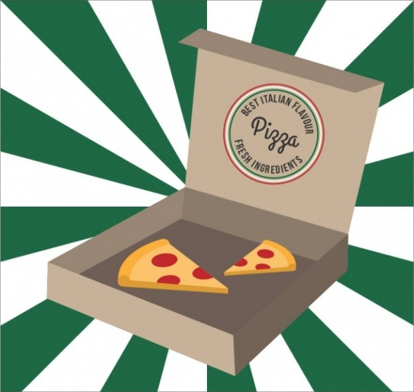 Italian Pizza Cartoon Packaging Vector