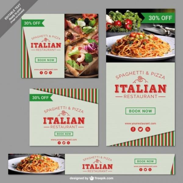 Italian Restaurant Banner Set Free Vector