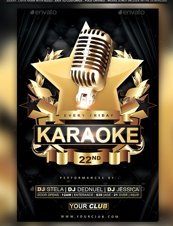 Karaoke Flyer Templates  Psd Vector Eps Jpg Download