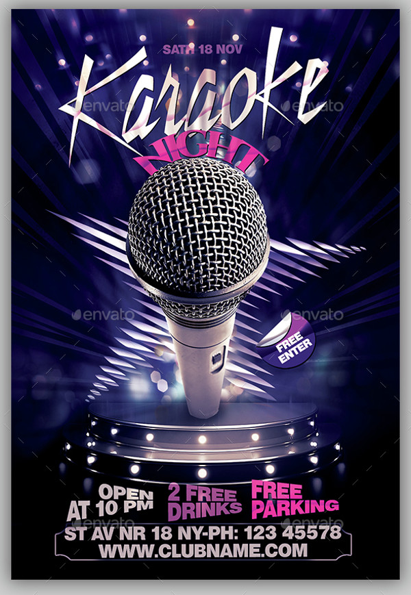 Karaoke PSD Flyer Design