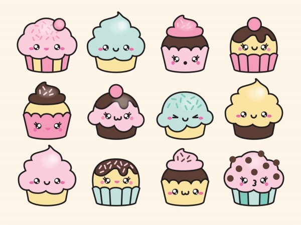 Kawaii Cup Cakes Vectors
