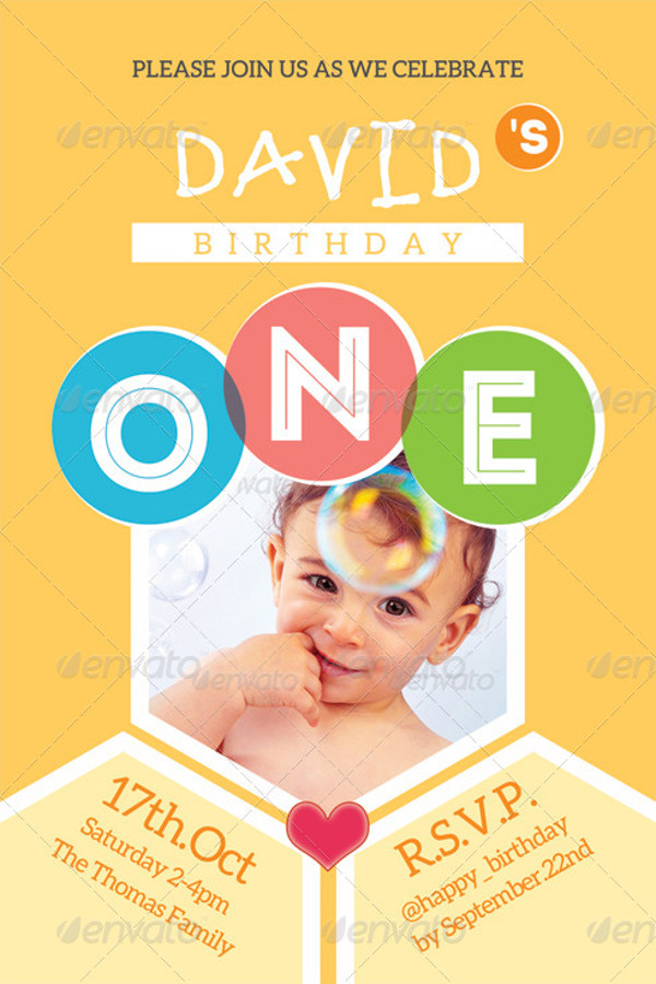 Kid's 1st Birthday Invitation