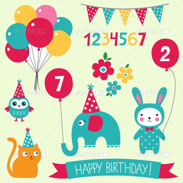 Kid's Birthday Vector Set