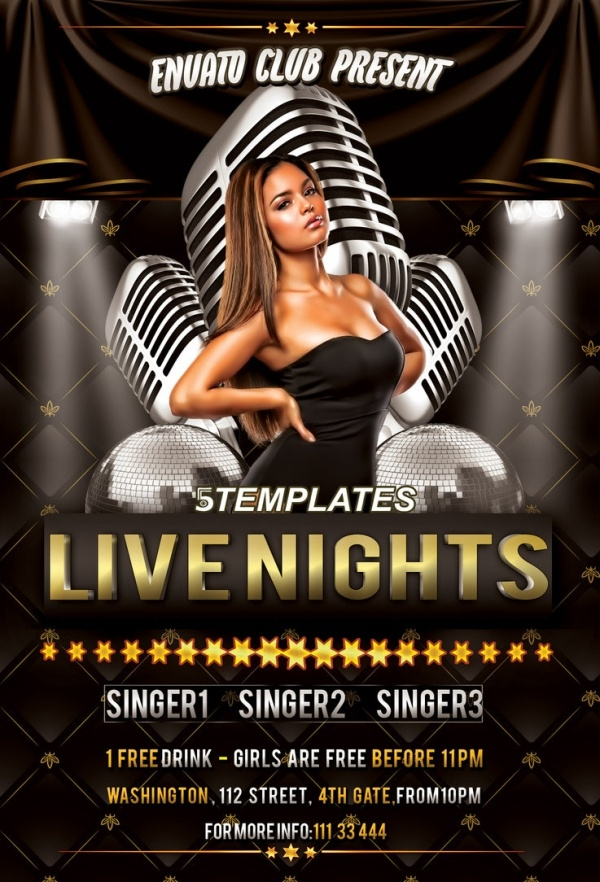Live Nights Flyer Free PSD Template
