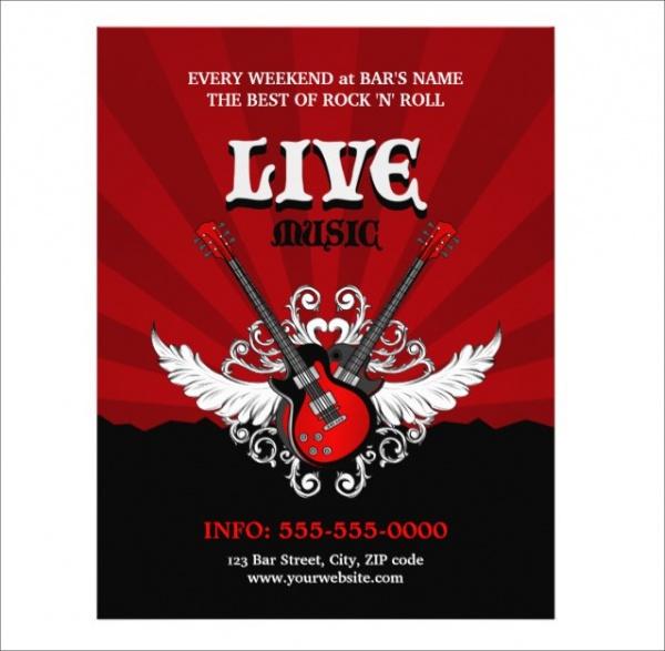 live rock music concert party flyer
