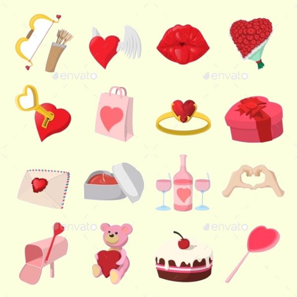 Love Cartoon Icons Set