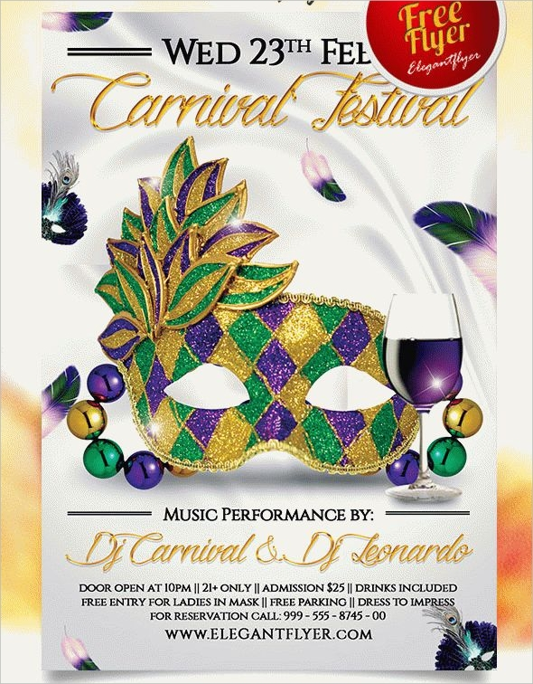 mardi gras carnival festival flyer psd