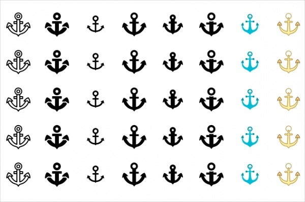 Marine Anchor Icons Set